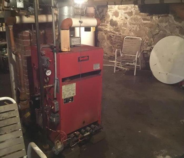 basement with a heating system that could cause a fire damage